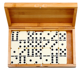 set of dominoes in bamboo box