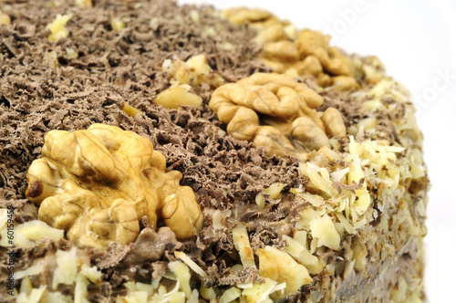 Close up of homemade cake decorated with nuts