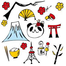 Visites au Japon icône ensemble