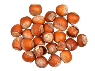 handful of hazelnuts isolated
