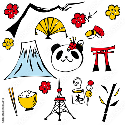 Sight seeing to Japan icon set