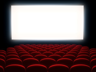 Cinema auditorium with white screen