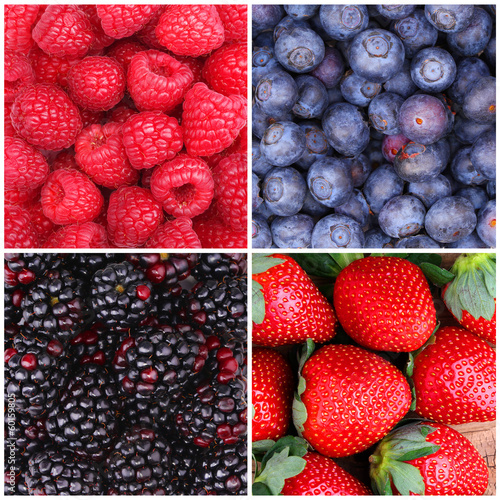 Berries Background Collection. Raspberry, Blueberry, Blackberry