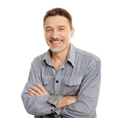 Smiling middle age man with grey shirt