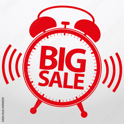 Big sale alarm clock, vector illustration
