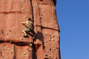 Climber in a rock wall.