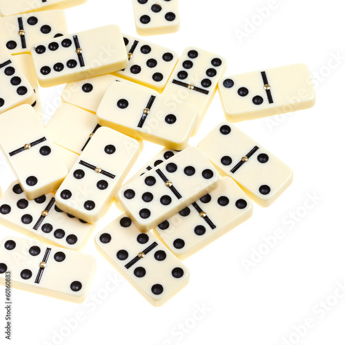 above view of many scattered dominoes