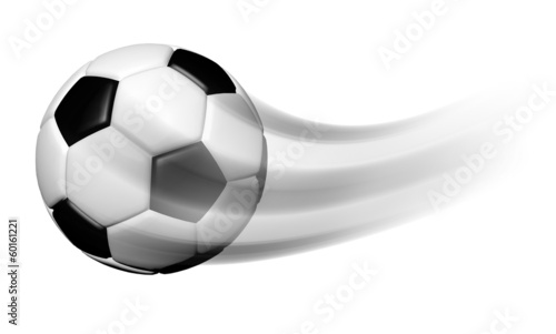 canvas print picture Soccer ball in motion isolated on white background