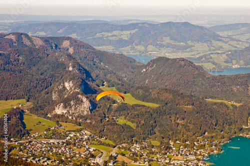 Paragliding over St. Gilgen and mountains