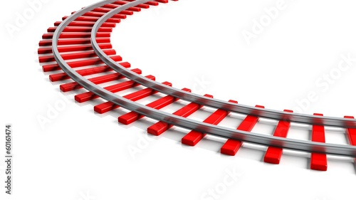3D rendering red railway track, isolated on white background