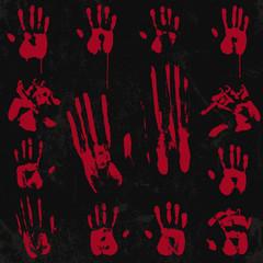 Bloody hand print set 02