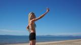 Girl Beach Shorts Selfie poster