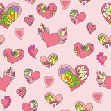 seamless pattern of cute doodle hearts