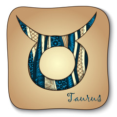 Zodiac sign - Taurus. Doodle hand-drawn style