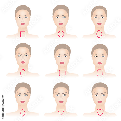 Shapes of woman face with lines