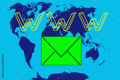 world map and email