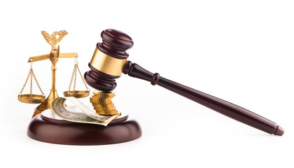 scales, gavel and  money