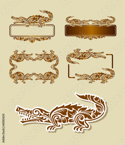 Aluminium Floral Ornament Crocodile Pattern Decoration