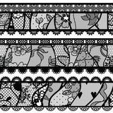 Set of lacy vintage trims. Vector illustration.