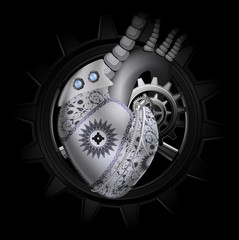 Steam punk mechanical heart illustration