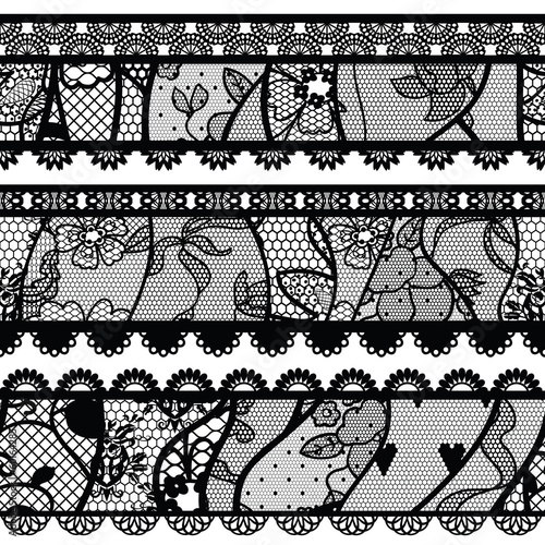 Set of lacy vintage trims. Vector illustration. - 60164285