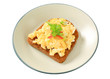 Scrambled eggs on fried bread
