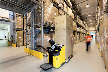 Forklift in warehouse