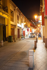 Street at night in the old district of Macau