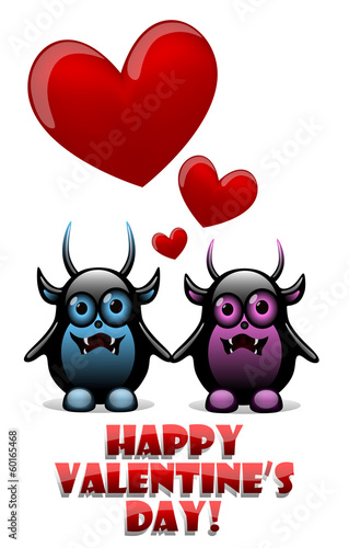 Valentine's day card with devils in love