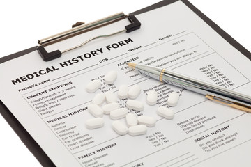 Medical document with pills