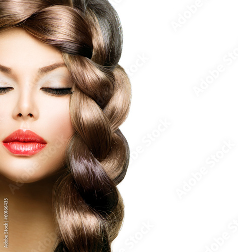Hair Braid. Beautiful Model Woman with Healthy Long Brown Hair