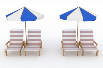Deckchair and parasol on white background.