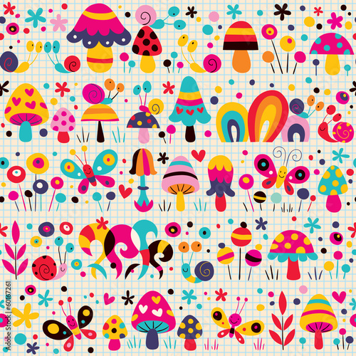 mushrooms, butterflies & snails pattern
