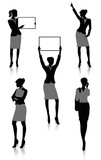 Set of silhouettes of a businesswoman holding a board.