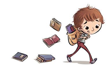 niño con libros