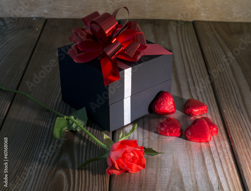 red rose and heart shapes