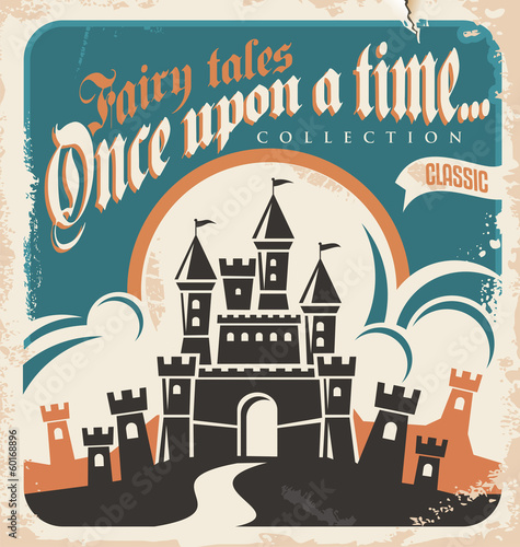 Vintage fairy tales vector poster design with castle