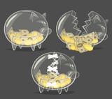 Set of glass piggy banks. Vector illustration. - 60169026