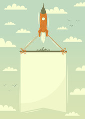 Space rocket with banner. Vector illustration.