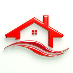3D Glossy Logo Red House