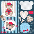 bear teddy with dots and striped vector illustration