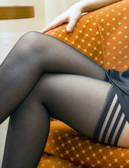 Slender female legs in stockings