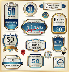 Luxury anniversary golden labels