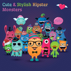 Cute and Stylish  Hipster Monsters Illustration