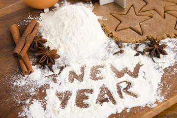 The inscription on the flour - New Year