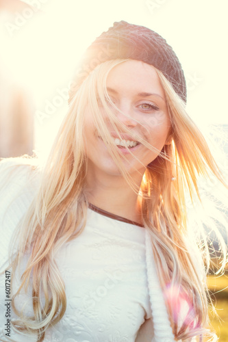 Pretty smiling woman portrait outdoor