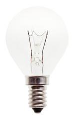 usual transparent incandescent light bulb