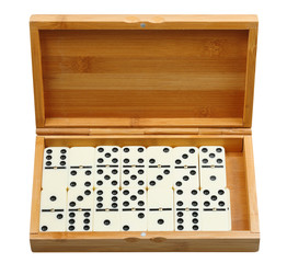 set of dominoes in wooden box