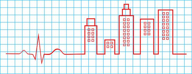 Electrocardiogram City Life Concept