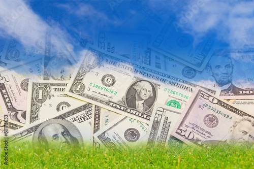 Background with U.S. banknotes